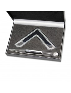 Boxed Set Of Square & Compasses Silverplated