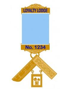 Craft P M Breast Jewel -blue Enamel Lodge Name &  Number On Gilt Bars