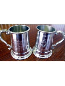 Engraving On Peweter Goblet Or Tankards