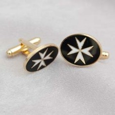 G248  Km  Cuff Links Metal Gilt & Enamel