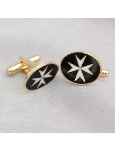 Km  Cuff Links Metal Gilt & Enamel