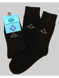 Masonic Black Socks -short Fitting  With Discreet Square & Comp Size 6-11