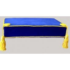 Bible Cushion Blue Velvet Yellow Trimmed