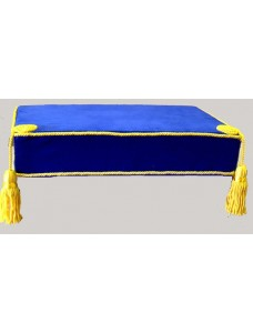 Bible Cushion Blue Velvet Yellow Trimmed