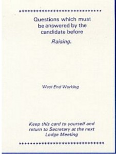 West End Working Raising Card